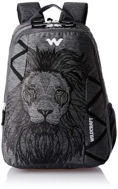 Wildcraft Polyester 35 Ltr Black and Grey School Backpack